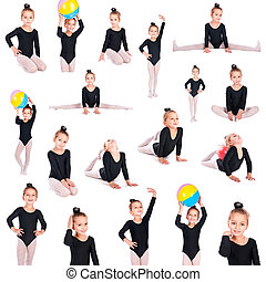 girl gymnast collection isolated on a white background