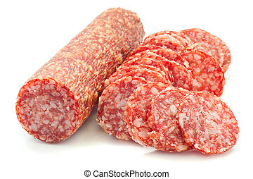 salami - sliced salami isolated on a white background