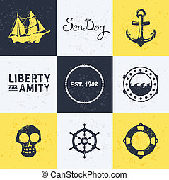 Vintage nautical symbols - Background with vintage retro...