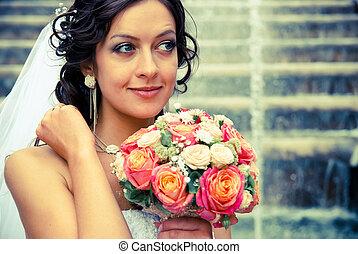 bride with bouquet - portrait of bride with bouquet