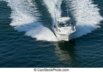 Speedboat - A speedboat moving through calm water in the...