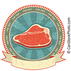 Meat label set on old paper texture.Vintage background