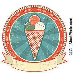 Ice cream label set on old paper texture.Vintage background