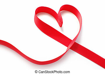 Ribbon heart - Red silk ribbon in the shape of heart