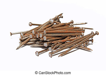 rusty nail on white background