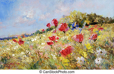 painted poppies on summer meadow - red poppies and white...