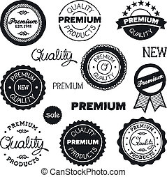 Drawn vintage badges - Set of hand-drawn vintage premium...