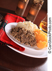 Haggis Dinner - Scottish Haggis Serving For A Burns Night...
