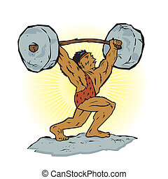 Weightlifting Beast - A strong prehistoric man lifting stone...