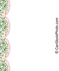 Daisy Border - A border with the images of daisies on pink...