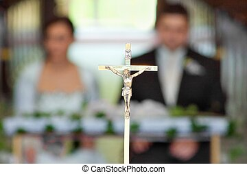 el, novio, novia, boda, ceremonia, iglesia