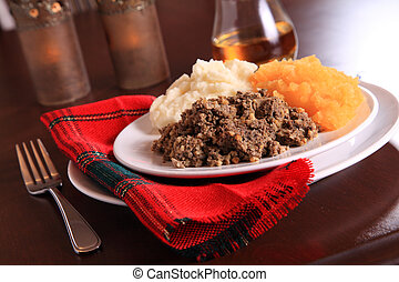 Traditional Haggis Dinner - Scottish Haggis Table Setting...