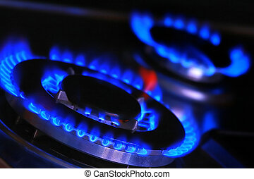 Blue flame of gas.  - Blue flames of gas stove