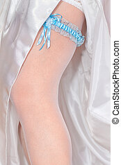 Wedding garter - Beautiful wedding garter on leg
