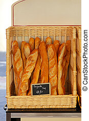 Baguettes - Traditional French baquette bread in the basket