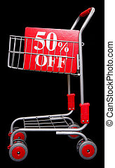 Shopping trolley with 50 percent off sign on black...