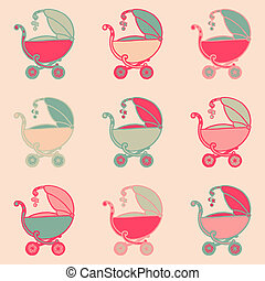 Seamless Background with Baby Carriages - hand drawn in vector