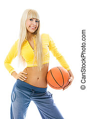 beautiful girl with a ball - beautiful blond girl with a...