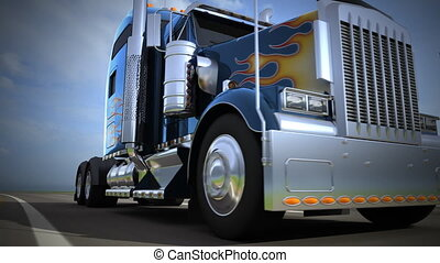 Blue american truck driving on the freeway, blurred motion -...