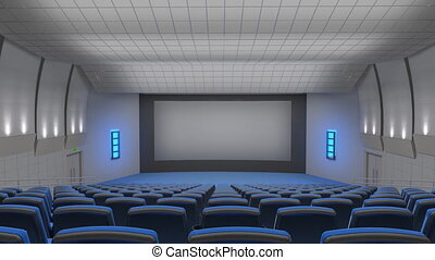 Cinema auditorium, flying into the screen - Flying across...