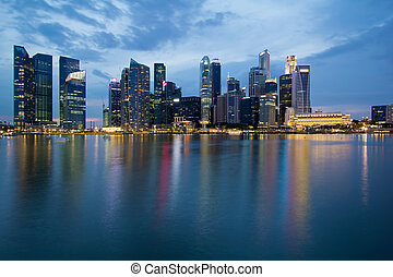Singapore City Skyline at Blue Hour - Singapore City Skyline...