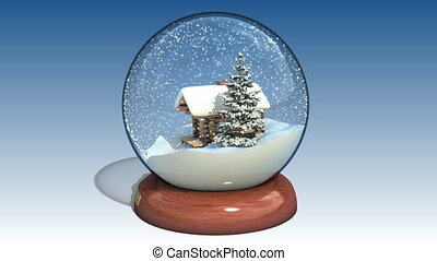 Snow globe with the falling snow, High quality 3d render,...