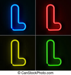 Neon Sign Letter L - Highly detailed neon sign with the...