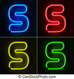Neon Sign Letter S - Highly detailed neon sign with the...