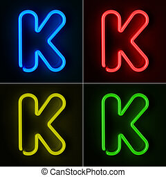 Neon Sign Letter K - Highly detailed neon sign with the...