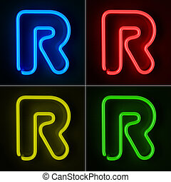 Neon Sign Letter R - Highly detailed neon sign with the...