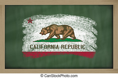 flag of us state of california on blackboard painted with chalk