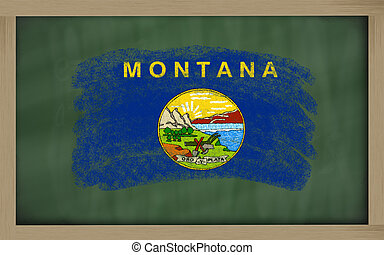 flag of us state of montana on blackboard painted with chalk