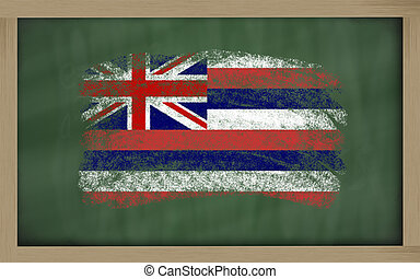 flag of us state of hawaii on blackboard painted with chalk