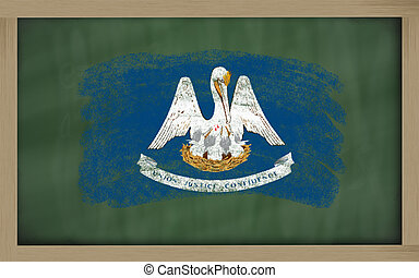 flag of us state of louisiana on blackboard painted with chalk