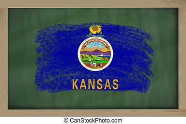 flag of us state of kansas on blackboard painted with chalk