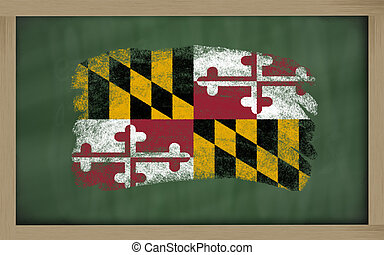 flag of us state of maryland on blackboard painted with chalk