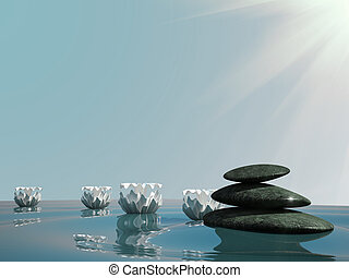 spa relax stone water zen lily