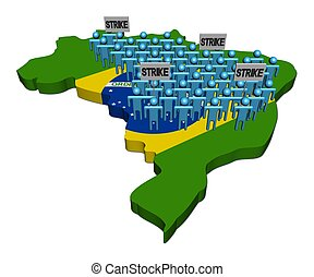 workers on strike on Brazil map flag illustration