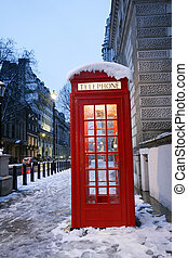 London Telephone Booth  - London Red Telephone Booth at dawn