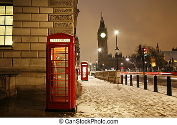London Telephone Booth and Big Ben - London Red Telephone...