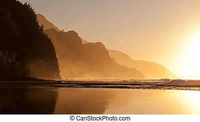 Misty sunset on Na Pali coastline - Na Pali coast by Ke'e...