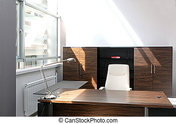 Home office - Modern home office interior wih wooden...