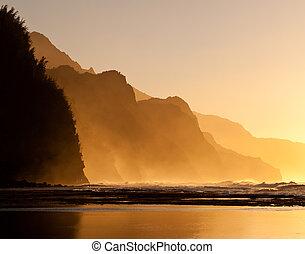 Misty sunset on Na Pali coastline - Na Pali coast by Ke'e...