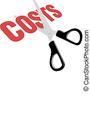 Scissors cut business expense costs - Pair of scissors cuts...