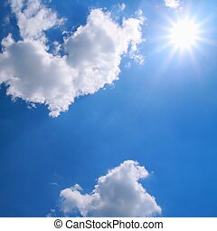 Blue sky and sun - Beautiful sky with by many clouds and sun