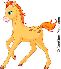 Cute Horse foal running - Illustration of cute Horse foal...