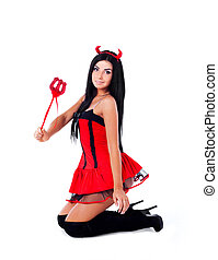 imp - sexy brunette girl wearing a halloween costume of an...