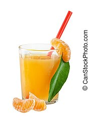 Tangerines and juice glass isolated on white background