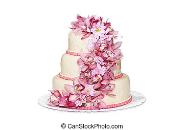 Traditional wedding cake with orchid flowers - Traditional...