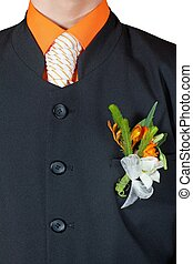 Wedding Flower Boutonniere On Suit of Groom